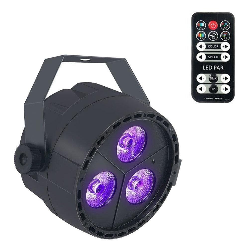 Lucky-G 3 LED Par Lights RGB Colorful Multi Lighting Modes Stage Lights Flexible Remote Control DMX Control Disco Lights UK Plug - intl