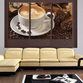 Harga 3 Panel Coffee Wall Art Picture Modern Painting Canvas HomeDecoration Living Room Canvas Print--Large Canvas Art (No Frame)