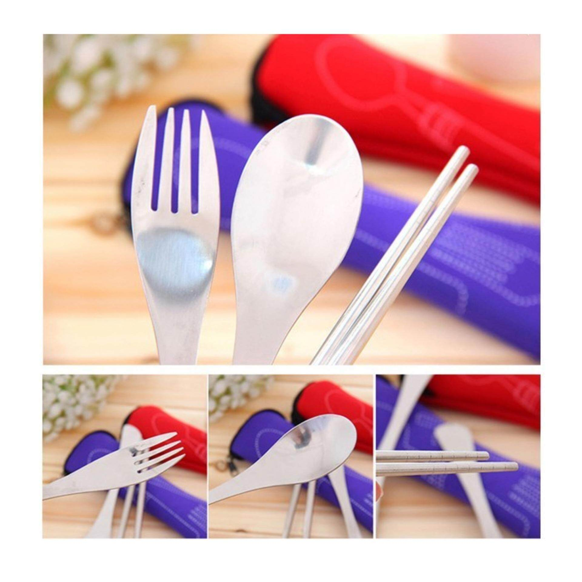 3-piece Portable Stainless Steel Cutlery Set (Outdoor/Outstation/Picnic) - 1 set - Random Color Send