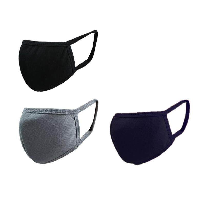 Buy 3 Pieces Unisex Adult PM 2.5 & Activated Carbon Anti-fog&Dust Face Mouth Warm Masks Healthy Air Filter Dustproof Antivirus Antibacterial Protective Cotton Guaze Masks,Black+Grey+Navy blue Malaysia