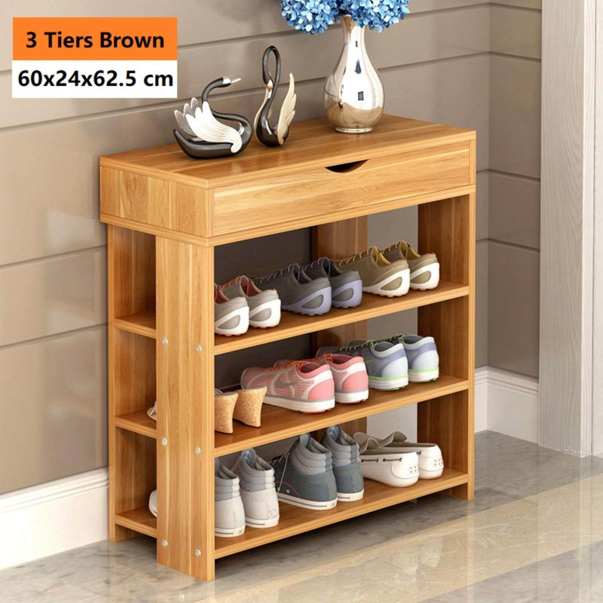 3 Tiers Wooden Shoe Rack Storage Shelves with Cabinet (Brown) Malaysia & 3 Tiers Wooden Shoe Rack Storage Shelves with Cabinet (Brown)