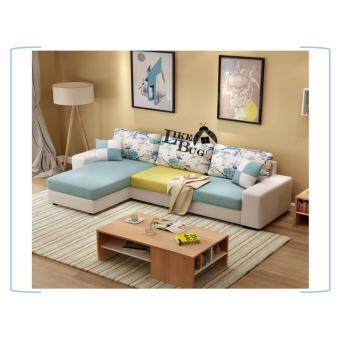 Harga 3 YEARS WARRANTY!!! Living Room (3) Seater Canvas L - Shape Designer Sofa with Stool [LAZZO 868]