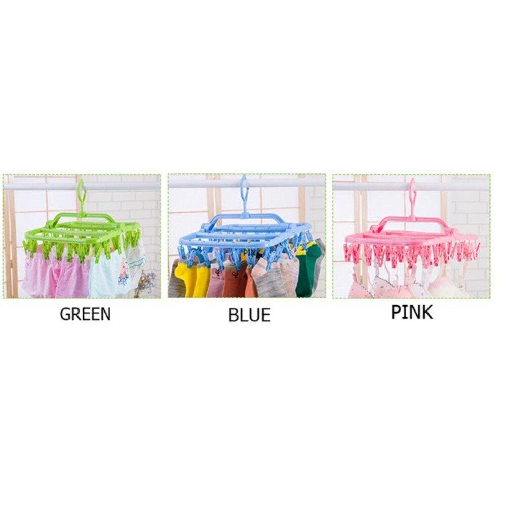 32 Clips Folding Clothes Laundry Underwear Hanger Tudung Klip Drying Clips - Random Colour