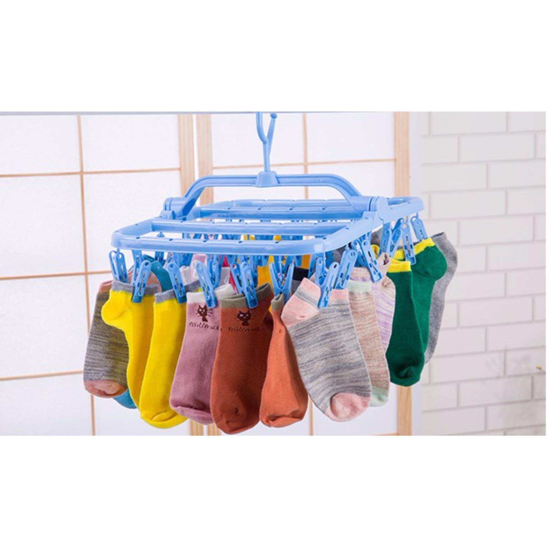 32 Clip Drying Hanger Children's underwear home folding Baby Clothes Rod to dry socks - Random Colour