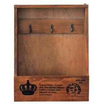 360DSC Creative Retro Key Holder Wooden Box Sundries Hook Storage Wall Hanger Home Decor - Color-1