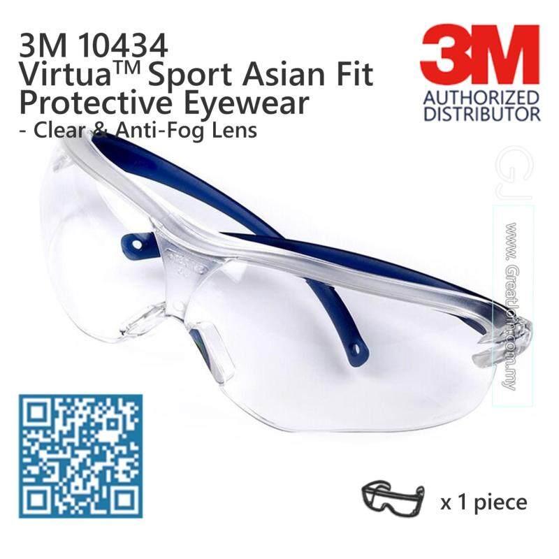 3M 10434 Virtua Sport Safety Eyewear Asian Fit Anti Fog [Clear Lens/ Blue Temple]