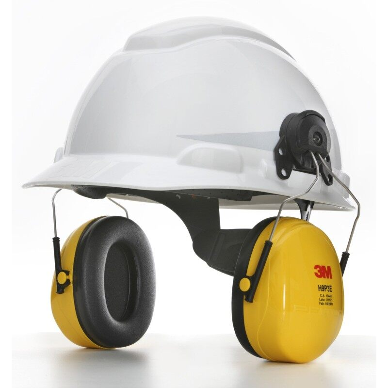 Buy 3M H-701R Hard Hat White; 4-Point PinLock + 3M H9P3E Helmet Attached Earmuff, Yellow Malaysia