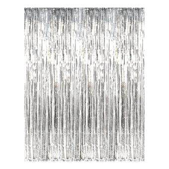 Harga 3M x 1M Metallic Curtain Fringe Curtain Party Foil Tinsel Room DoorCurtain Decor