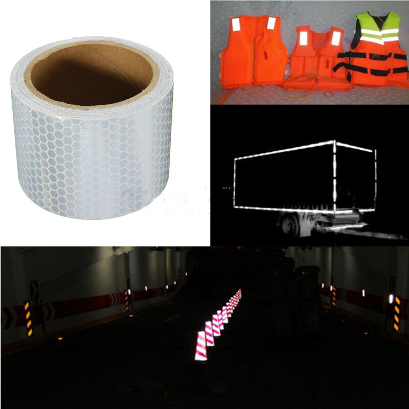 Buy 3M x 5CM Silver White Reflective Safety Warning Conspicuity Tape Film Sticker US Malaysia