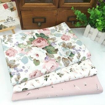 3Pc Flowers Assorted Pattern Floral Cotton Fabric Cloth For DIY Crafts Sewing