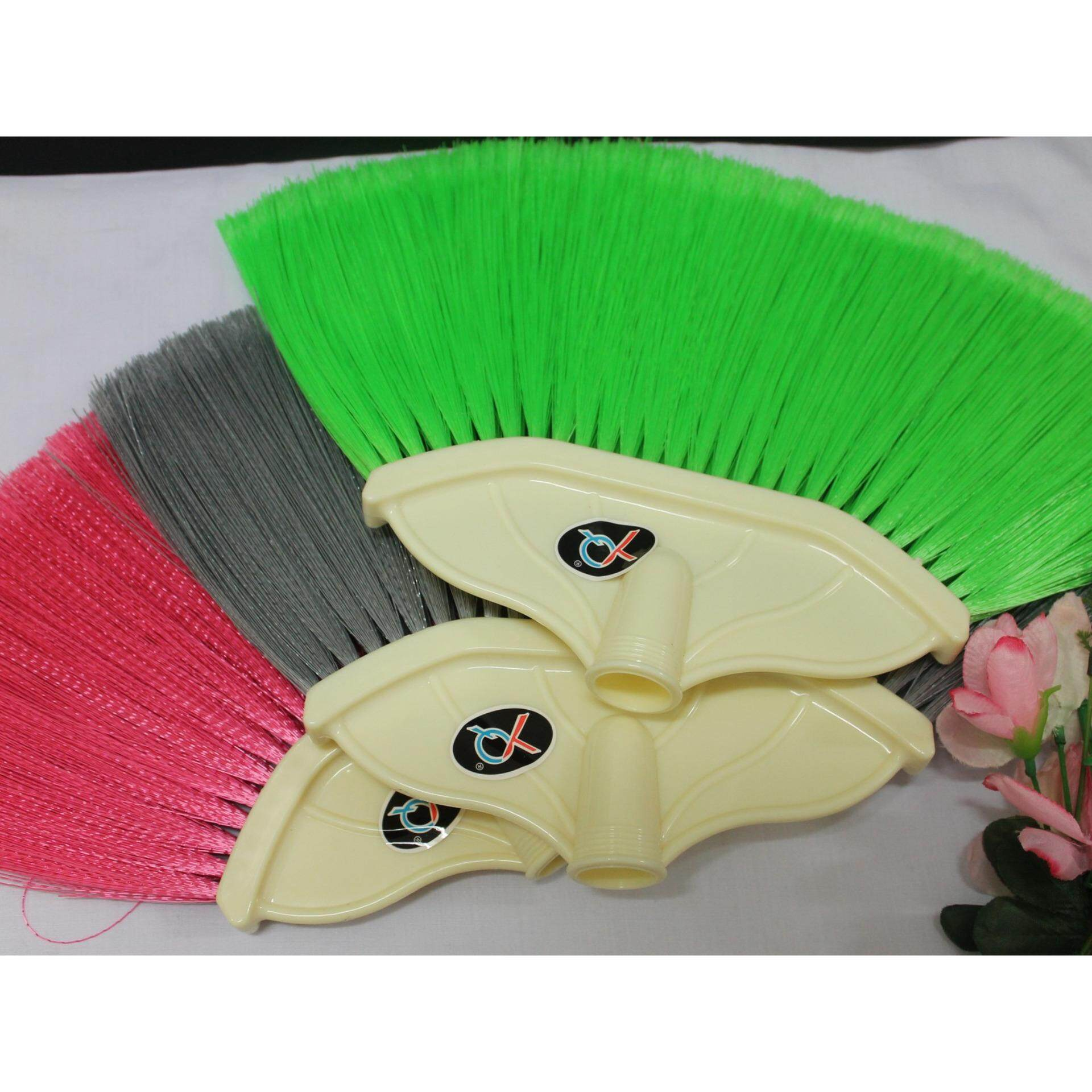3pcs Multicolor Curly Hairly Indoor Broom with 2 feet Wood Handler