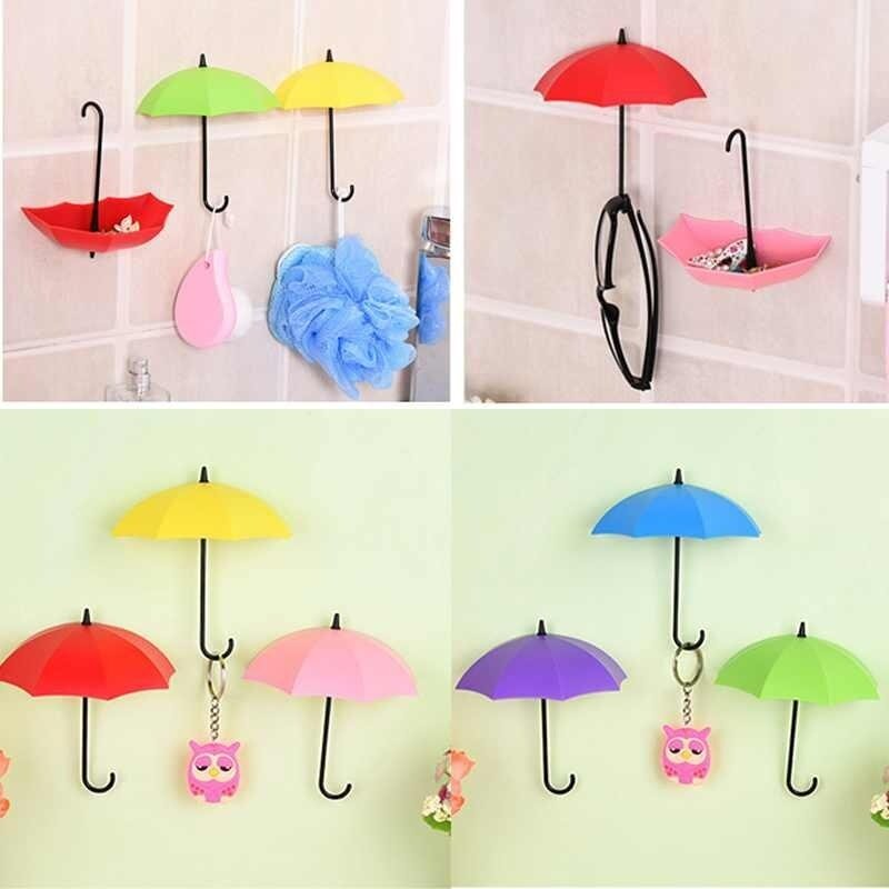 Buy 3pcs Umbrella Shaped Creative Key Hanger Rack Holder Wall Hook Organizer Hanger Malaysia