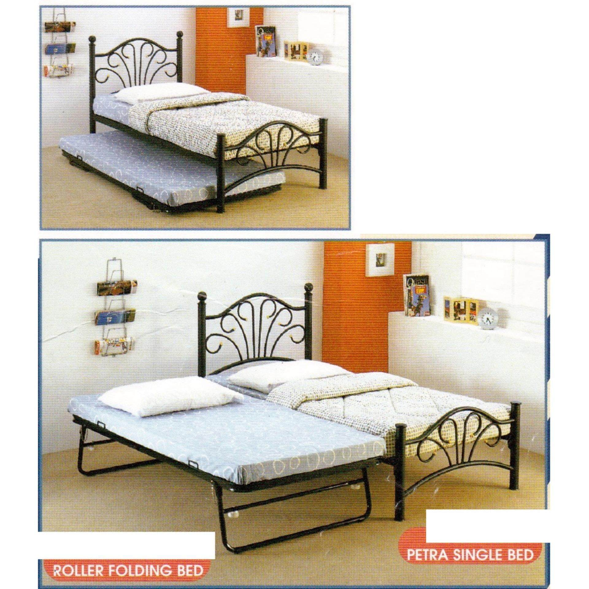 3V Extra Strong Single Metal Bed With Pull Out Bed(Walnut)