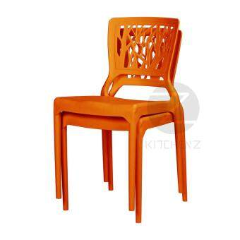 3V Modern Stackable Dining Plastic Chair IZ-701 Orange - 2 Pcs