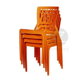 3V Modern Stackable Dining Plastic Chair IZ-701 Orange - 4 Pcs