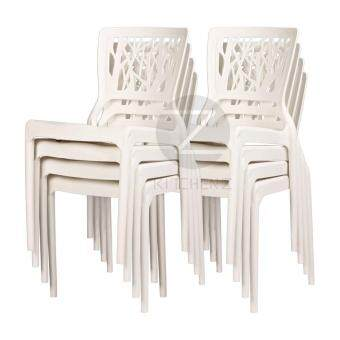 3V Modern Stackable Dining Plastic Chair IZ-701 White - 8 Pcs