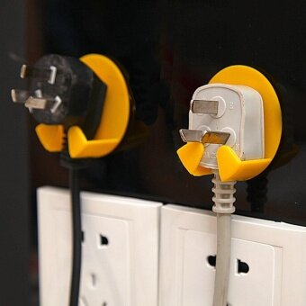 4 Pcs Power Plug Socket Jack Hook Rack Holder Hanger Home Wall Decor Organizer