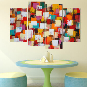 Harga 4 Piece Abstract Squares Wall Art Picture Modern Home ...