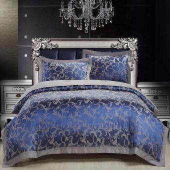 4pcs/set Luxury Jacquard Bedding Sets Cotton Comfortable Bed LinenDurable Duvet Cover/Bed Sheet/pillowcase for Home Decor WeddingGifts- Super King