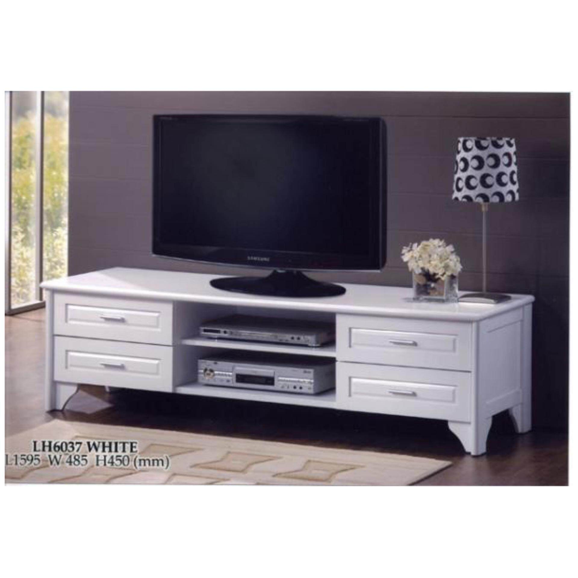 5 & 1/2 Feet Solid TV Cabinet Wood ( White )