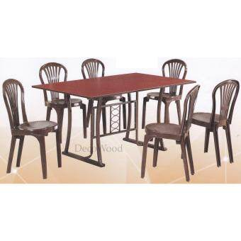 5-Feet Solid 1 Dining Table + 6 Dining Chairs/Wooden Table Chairs/Ruang Makan/Dining Area Set/Meals Table/Meals Chairs(Walnut Colour) Pre Order 1 Week