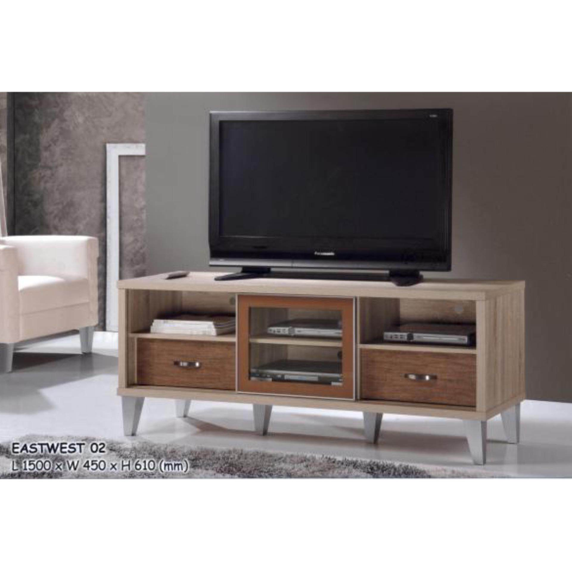 5 Feet Solid Sliding Door TV Cabinet Wood (Assembled)