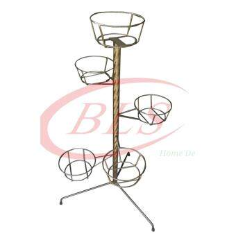 Harga 5 FLOWER POT BOWLS IRON STAND PLANTS FLOWERS RACK KAKI PASU BUNGA