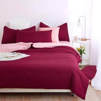 Harga 500-TC Two-Tone Bed Sheet Set - Maroon