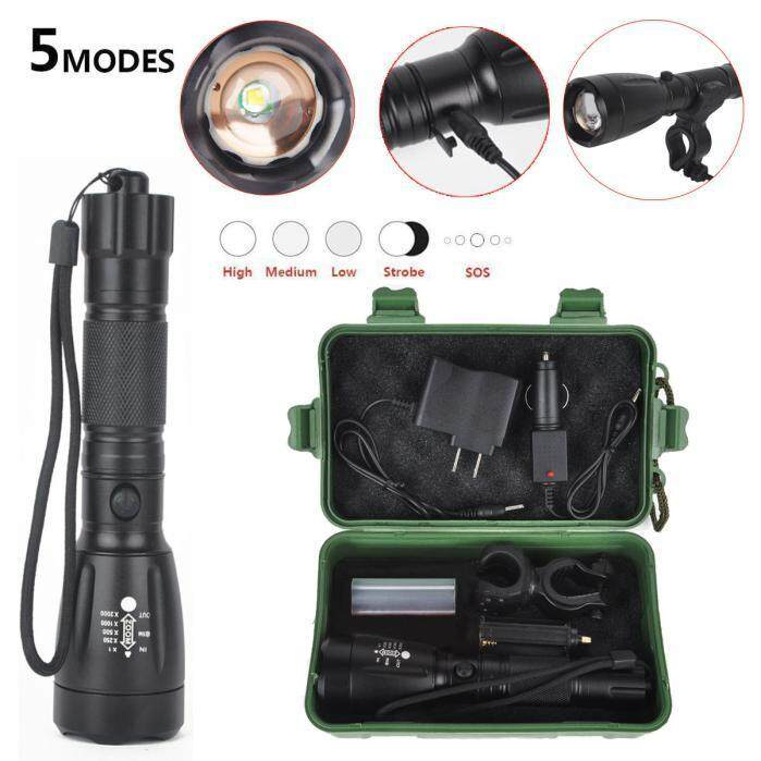 5000LM XML T6 LED Flashlight Torch 18650 Zoom Rechargeable Light +Charger+ Box