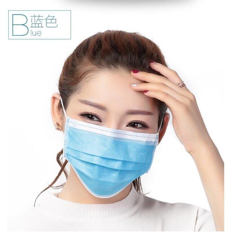 (50pcs) disposable blue three-layer non-woven mask, high efficiency pm2.5 dust anti-particles anti-fog haircut