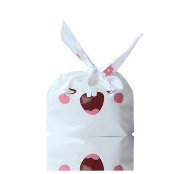 50pcs/lot Cookie Bags Plastic Candy Biscuit Packaging Bag Wedding Candy Gift Bags Party Decorations - Big tooth rabit