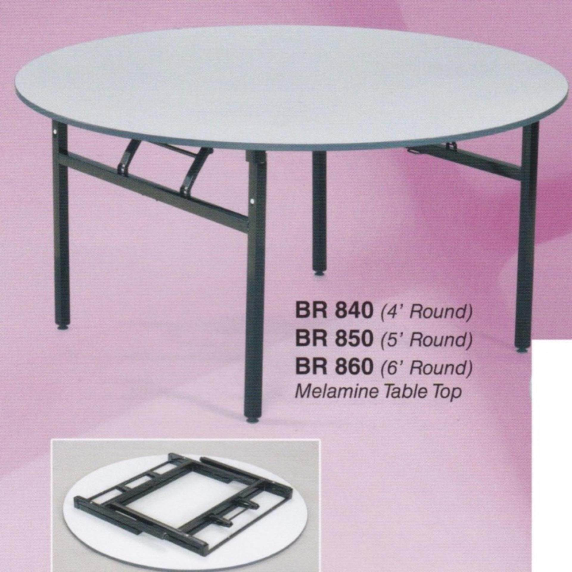 6-Feet Round Foldable Banquet Table With Thick Table Top L1800MM x W1800MM x H750MM