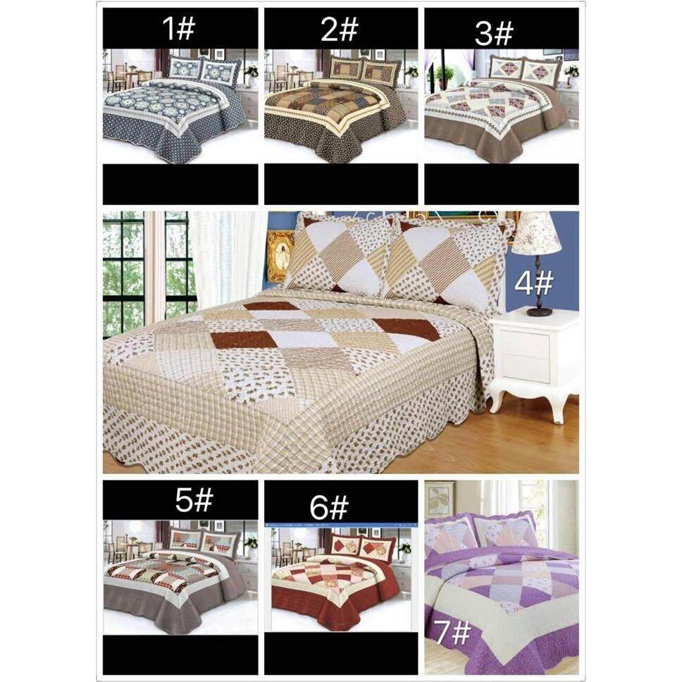 6 in 1 Queen Size Patchwork/Bed Sets/Quilt Set Easy to Wash  (A)
