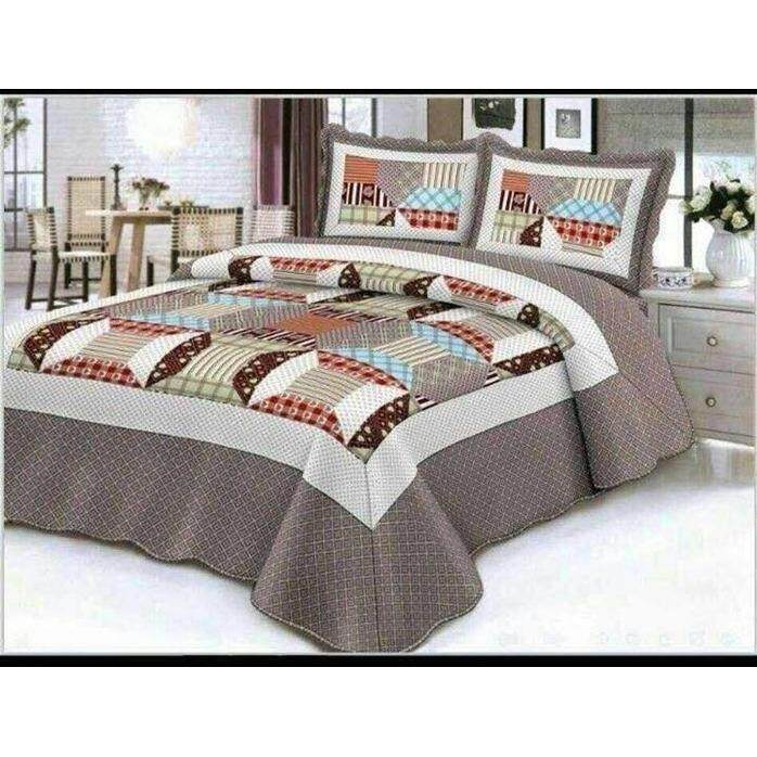 6 in 1 Queen Size Patchwork/Bed Sets/Quilt Set Easy to Wash  (C)