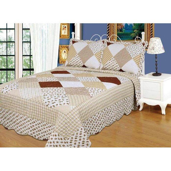6 in 1 Queen Size Patchwork/Bed Sets/Quilt Set Easy to Wash  (D)