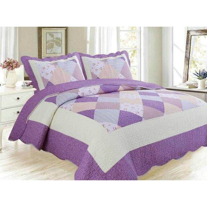 6 in 1 Queen Size Patchwork/Bed Sets/Quilt Set Easy to Wash  (F)