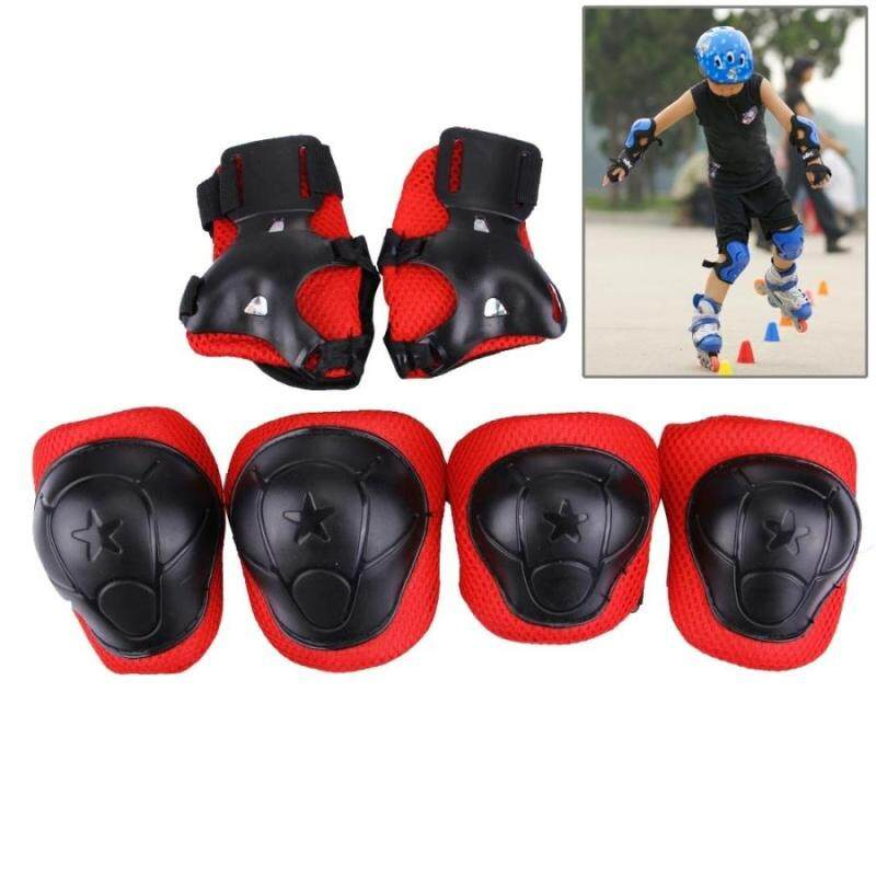 Buy 6 In 1 Roller Skate Knee and Elbow and Wrist Pads Protective Gear Sets(Black) Malaysia