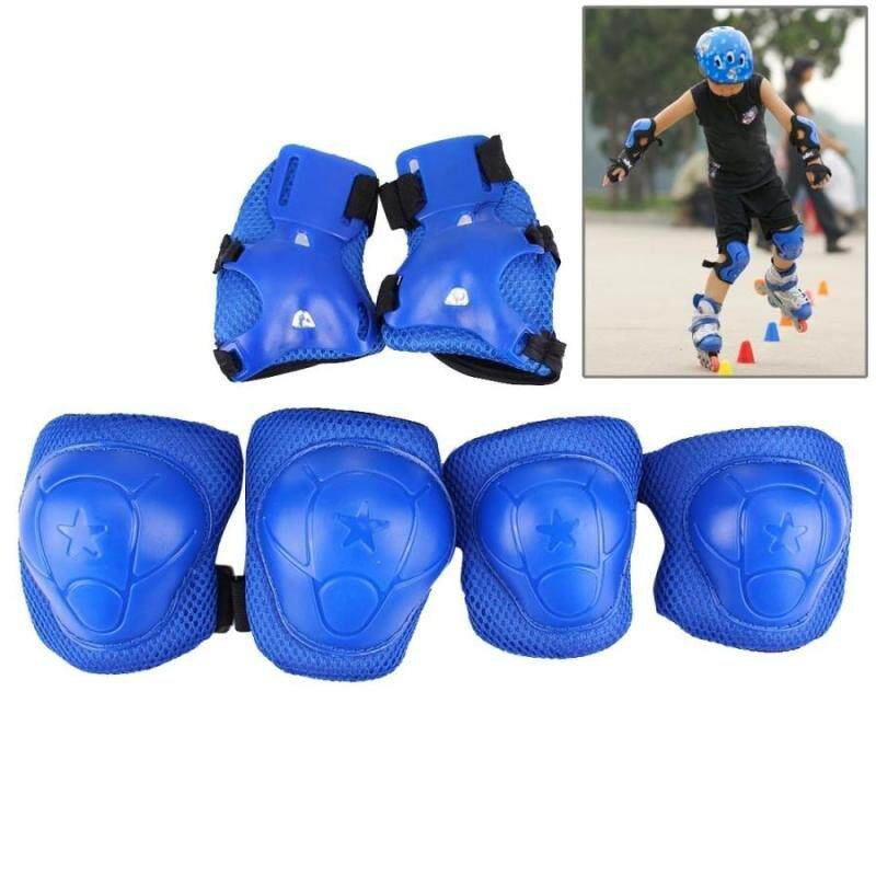Buy 6 In 1 Roller Skate Knee and Elbow and Wrist Pads Protective Gear Sets(Dark Blue) Malaysia