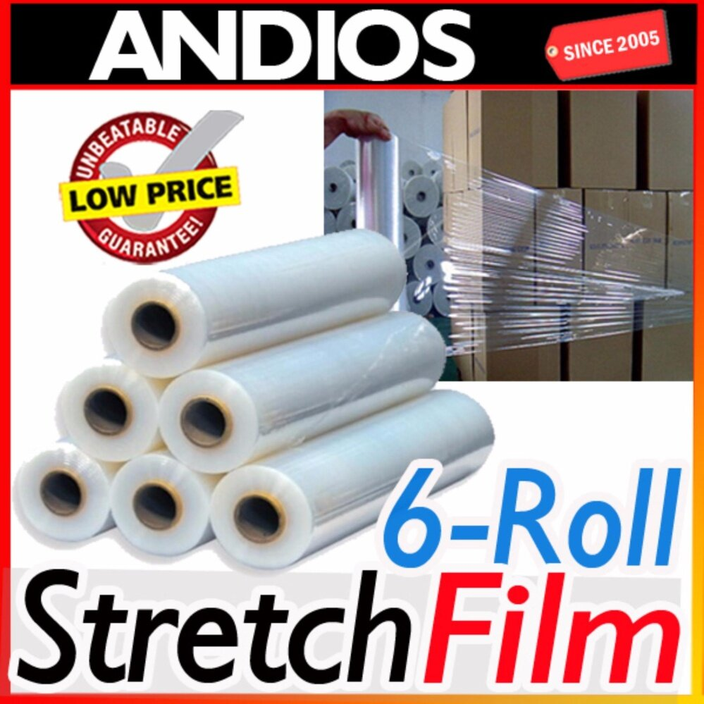 6-roll clear stretch film 500mm x2Kg.23mic Free Delivery.Packaging Pos