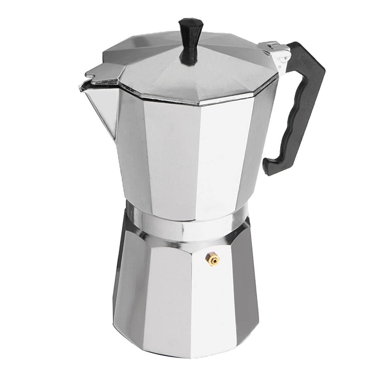 600ML 12 Cup Coffee Moka Pot Stove Percolator Maker Top Expresso Latte Aluminum - Silver ...