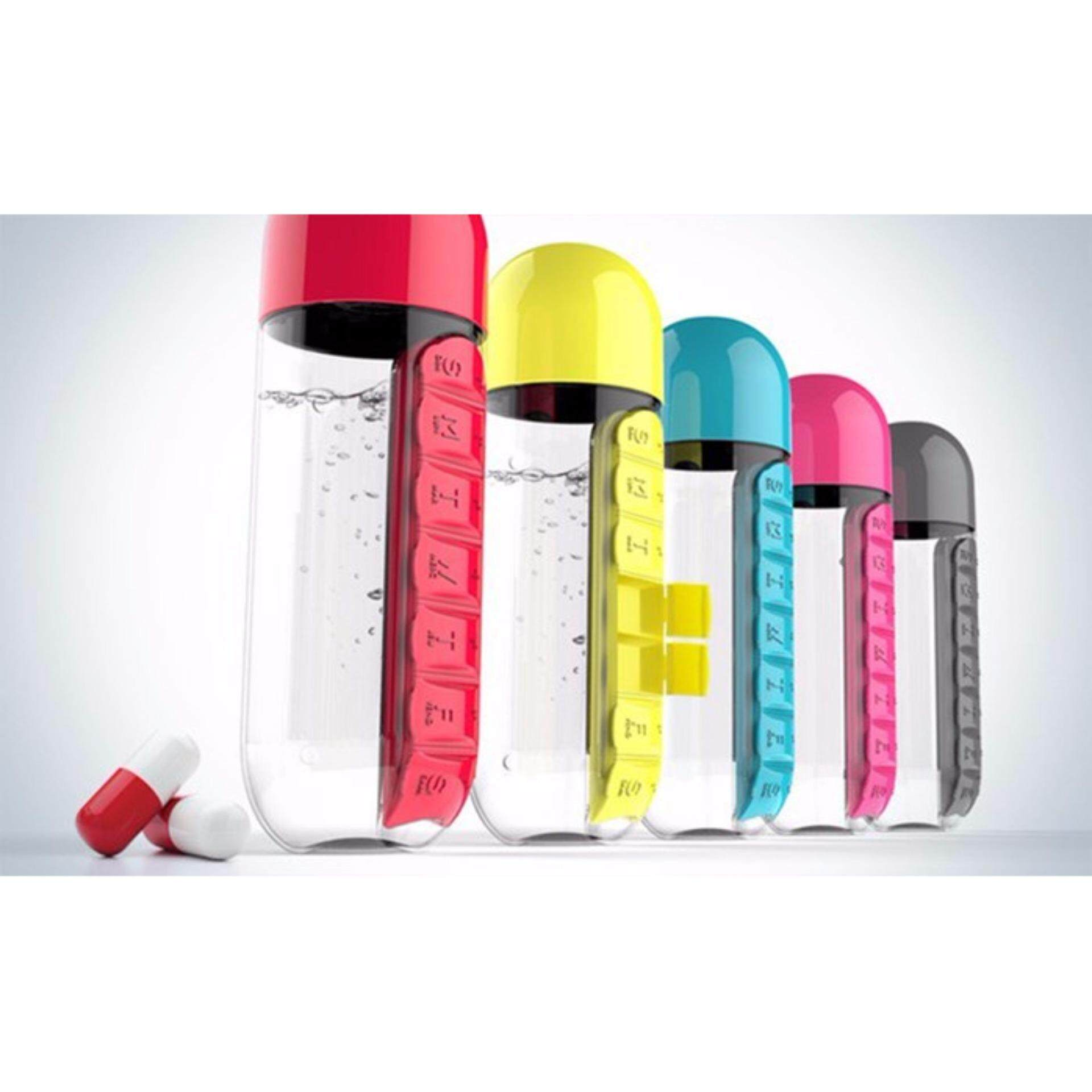 600ml Water Bottle With Pill and Vitamins Organizer - Random Colour