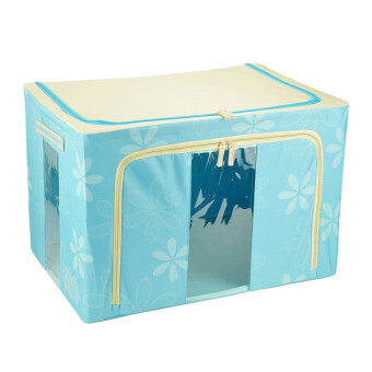 66L Large Oxford Cloth Dual Opening Foldable Spring Blossom Storage Box(Light blue)