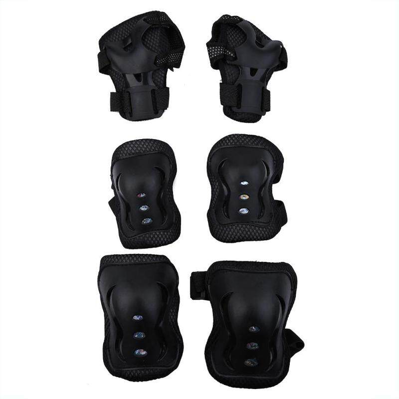 Buy 6pcs/set Knee Support Pads Elbow Protectors Wrist Guards For Children Outdoor Sports (black) Malaysia