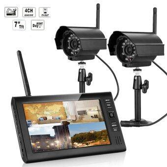 7 inch Digital 2.4G Wireless Cameras Monitors 4CH Quad DVR Security System