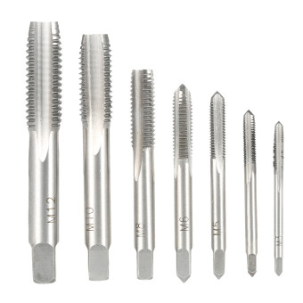 7PCS/Set High Hardness M3-M12 Metric Straight Fluted Screw ThreadTaps Bearing Steel Screw Tap Set for Hand Use M3 M4 M5 M6 M8 M10M12