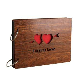 8 Inch Redwood Cover Albums Handmade Loose Leaf Pasted Photo Album 30 Pages Free Shipping Personalized AlbumForever Love