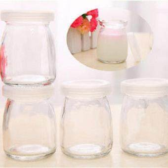 Harga 90ml Small Glass Cup for Yogurt, Ice cream, Milk, pudding withcover, 1 set with 4 glasses
