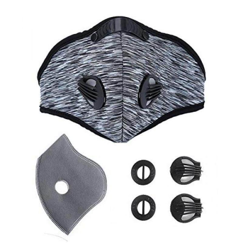 Activated Carbon Dustproof/Dust Mask - with Extra Filter Cotton Sheet and Valves for Exhaust Gas, Pollen Allergy, PM2.5, Running, Cycling, Outdoor Activities (grey)