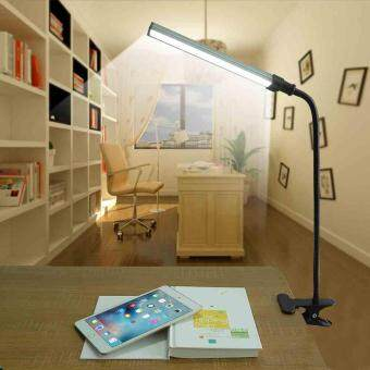Harga Adjustable USB LED Reading Light Clip-on Lamp Bed Table Desk Lamp Dimmable