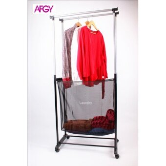 Harga AFGY FGR 244 Double Pole Garment Rack Plus Laundry Hamper